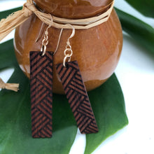 Load image into Gallery viewer, Lauhala Hawaiian Koa Wood - 14k Gold Filled/ Sterling Silver Earrings