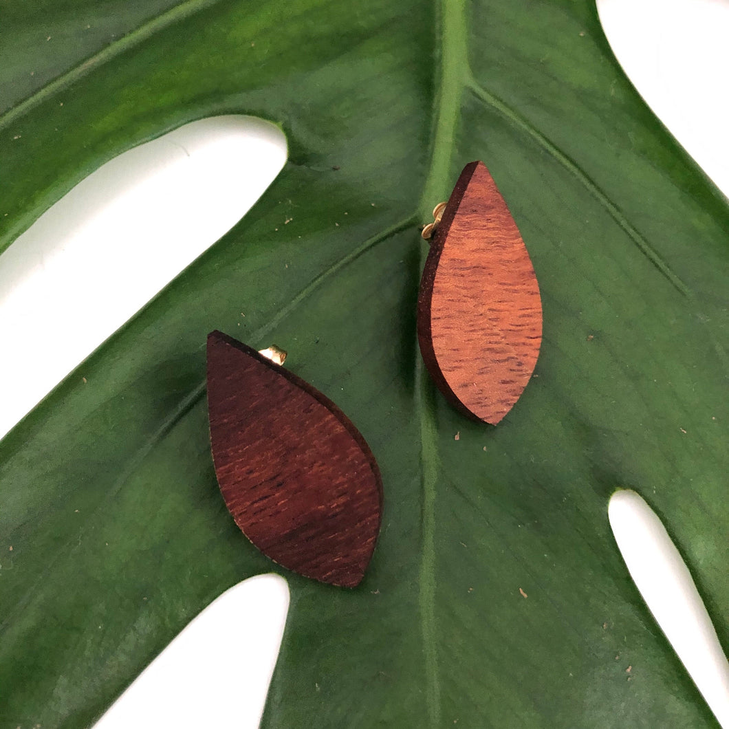 Teardrop Hawaiian Koa Wood w/ 14k Gold Filled Stud Earring