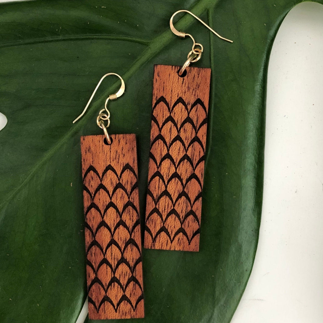 'Ahu 'ula Hawaiian Koa Wood - 14k Gold Filled/ Sterling Silver Earrings