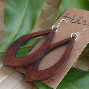 Teardrop Hawaiian Koa Wood - 14k Gold Filled/ Sterling Silver Earrings