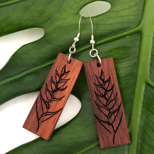 Heliconia Hawaiian Koa Wood - 14k Gold Filled/ Sterling Silver Earrings