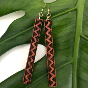 Lokahi Kapa Hawaiian Koa Wood - 14k Gold Filled/ Sterling Silver Earrings