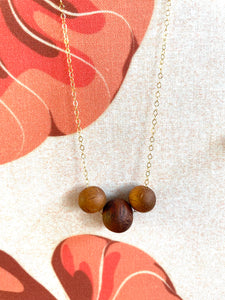 'Ekolu Koa Wood Beads  w/ 14k Gold Filled Necklace