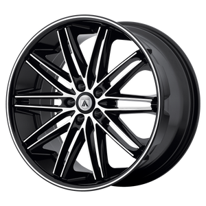 brand asanti black and model pollux wheel in a finish of machined face black lip with a model number of ab10