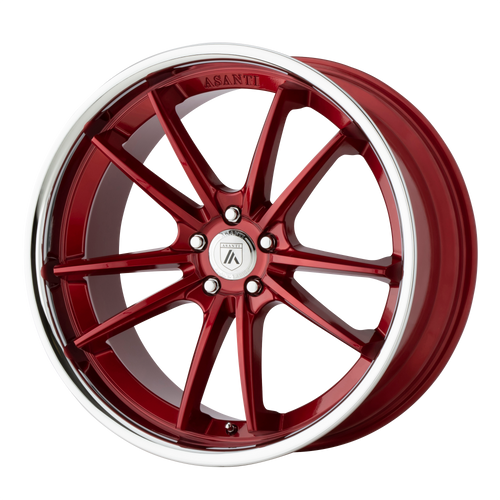 brand asanti black and model delta wheel in a finish of candy red with chrome lip with a model number of ab23