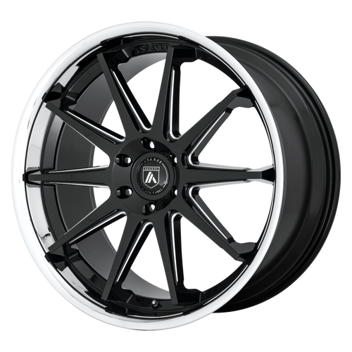 brand asanti black and model emperor wheel in a finish of gloss black milled with chrome lip with a model number of ab29