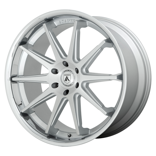 brand asanti black and model emperor wheel in a finish of brushed silver with chrome lip with a model number of ab29