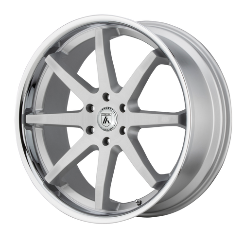 brand asanti black and model kaiser wheel in a finish of brushed silver chrome lip with a model number of ab32