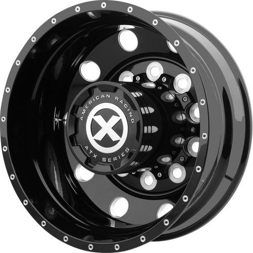 brand atx otr series and model baja wheel in a finish of gloss black milled - rear with a model number of ao400
