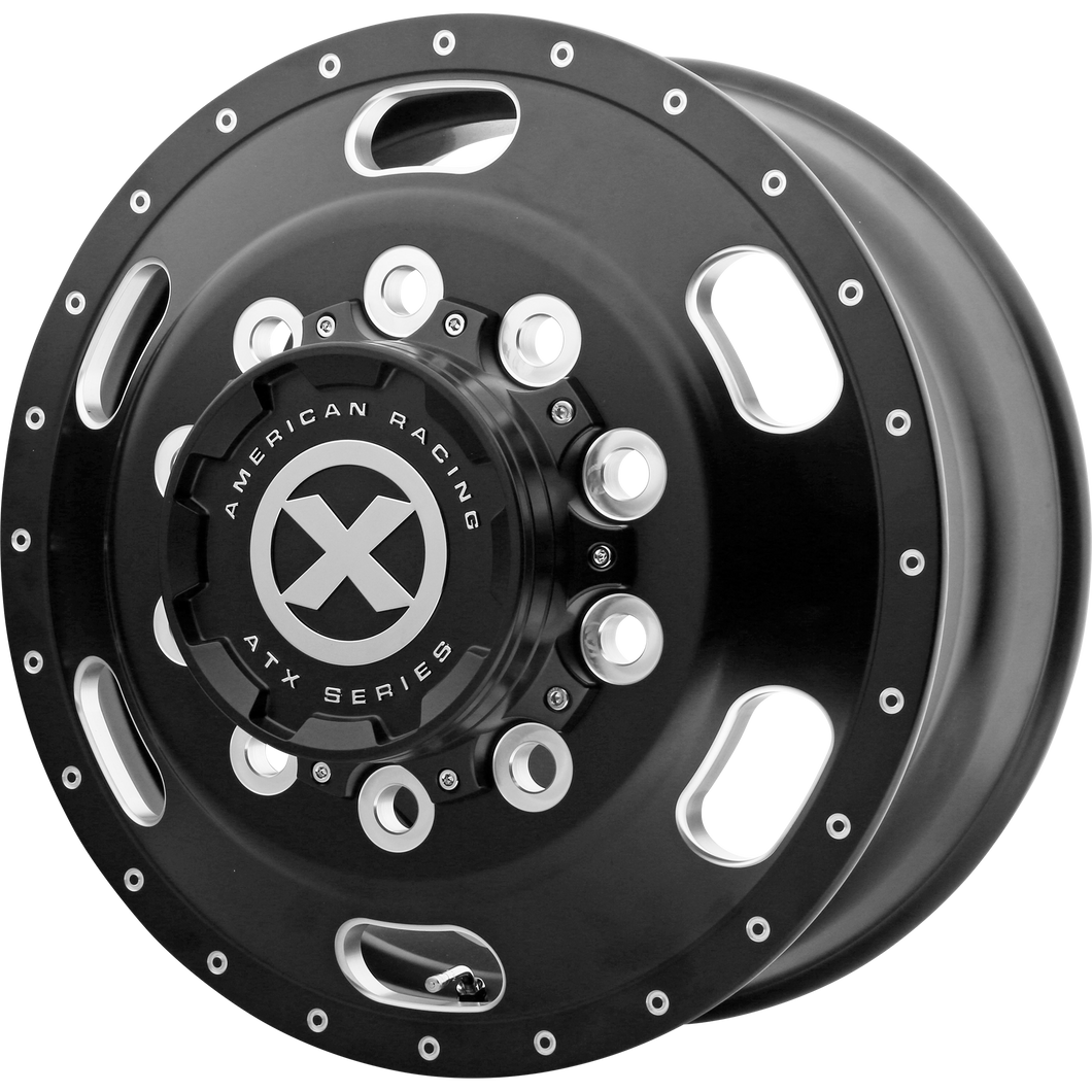 brand atx otr series and model indy wheel in a finish of satin black milled - front with a model number of ao402