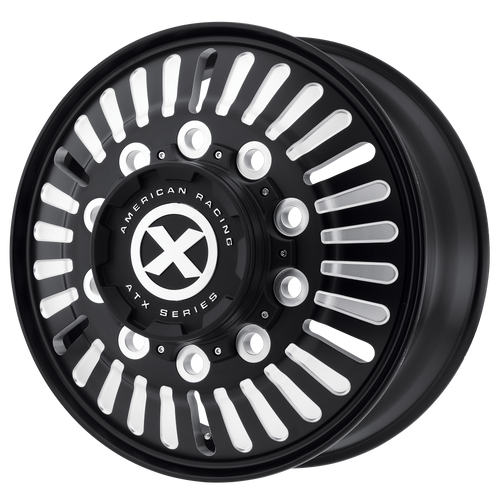 brand atx otr series and model roulette wheel in a finish of satin black milled - front with a model number of ao403