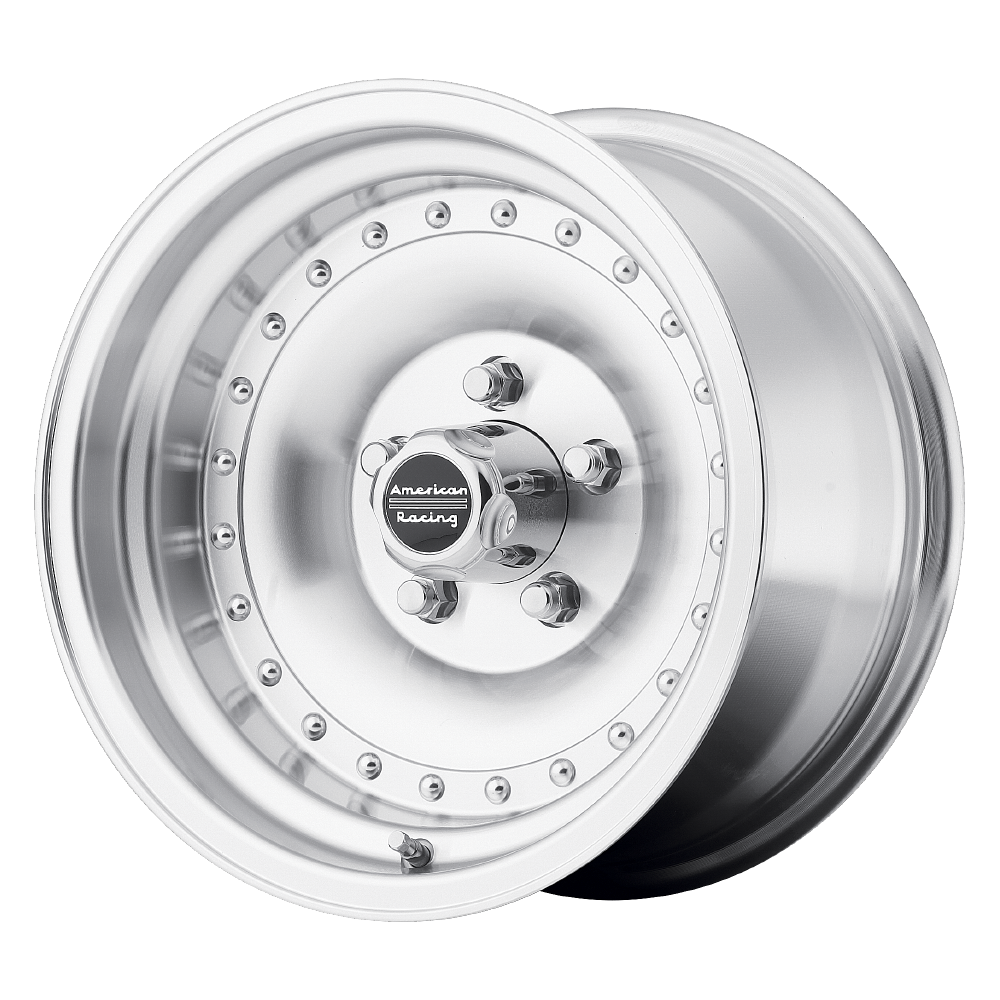 brand american racing and model outlawi wheel in a finish of machined with a model number of ar61