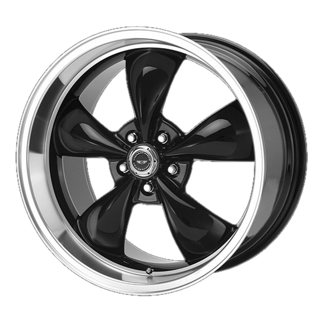 brand american racing and model torq thrust m wheel in a finish of gloss black machined lip with a model number of ar105
