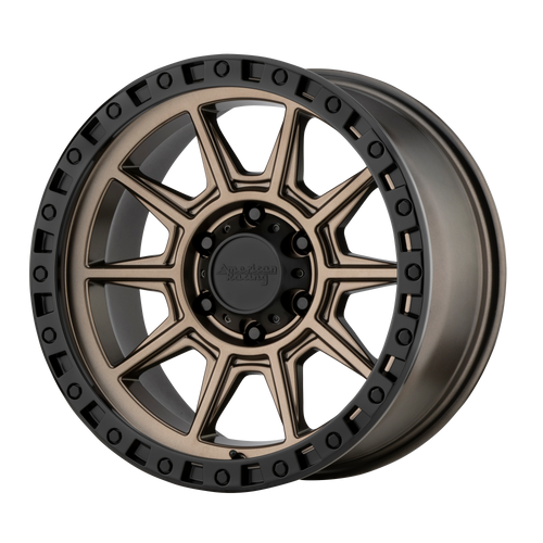 brand american racing and model ar202 wheel in a finish of matte bronze black lip with a model number of ar202