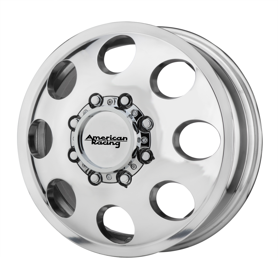 brand american racing and model baja dually wheel in a finish of polished - front with a model number of ar204