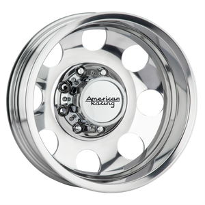 brand american racing and model baja dually wheel in a finish of polished - rear with a model number of ar204