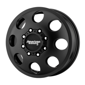 brand american racing and model baja dually wheel in a finish of satin black - front with a model number of ar204