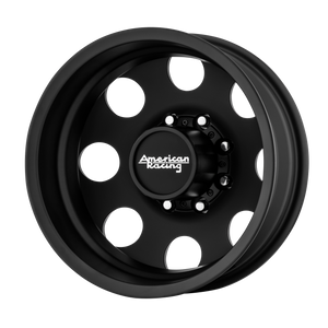 brand american racing and model baja dually wheel in a finish of satin black - rear with a model number of ar204