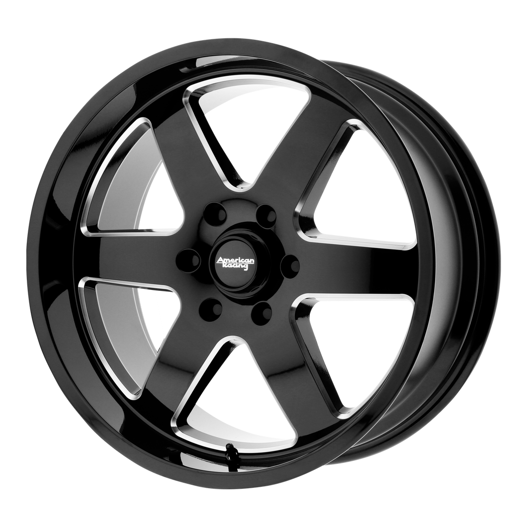 brand american racing and model patrol wheel in a finish of gloss black milled with a model number of ar926