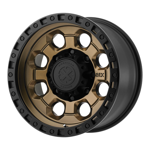 brand atx series and model ax201 wheel in a finish of matte bronze with black lip with a model number of ax201