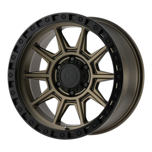 brand atx series and model ax202 wheel in a finish of matte bronze with black lip with a model number of ax202