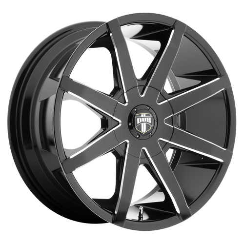 brand dub 1pc and model push wheel in a finish of gloss black milled with a model number of dc109
