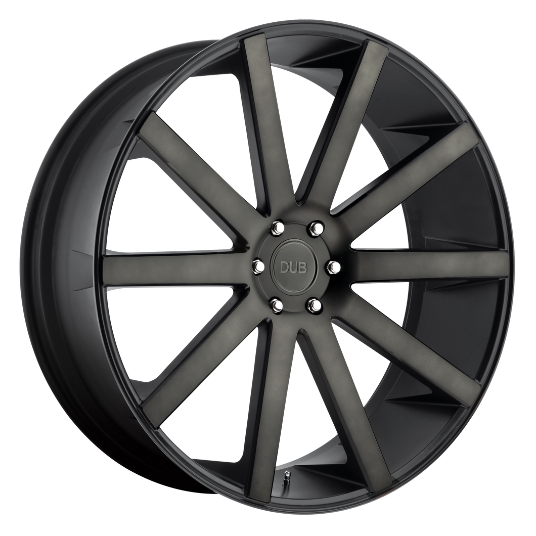 brand dub 1pc and model shot calla wheel in a finish of matte black double dark tint with a model number of dc121