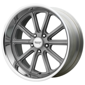 brand american racing and model rodder wheel in a finish of vintage silver diamond cut lip with a model number of vn507