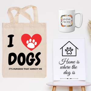 Dog Lovers bundle - Tote bag, Coffee Mug and MDF Wooden Wall Art