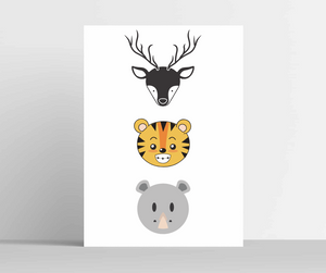 Cute Animal Faces Wall Art