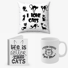 Load image into Gallery viewer, Cat Lovers Bundle - Coffee mug, Notebook and Pillow