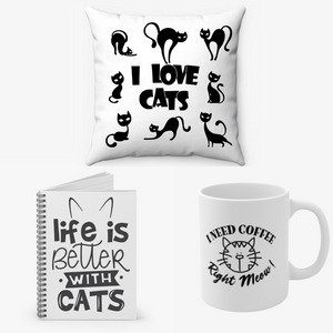 Cat Lovers Bundle - Coffee mug, Notebook and Pillow