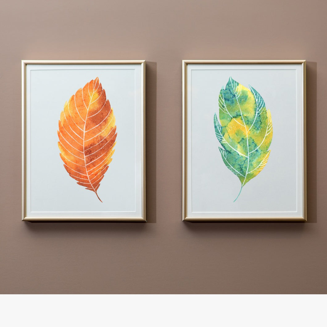 Watercolor leaf Wall Art Print Set of 2