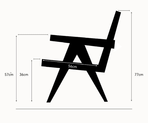 Pierre Jeanneret design Lounge Chair dimensions