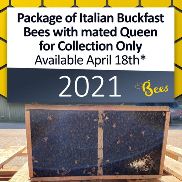 Package of Italian Buckfast Bees with mated Queen for Collection ONLY on April 18th* [DEPOSIT ONLY]