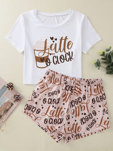 Letter & Heart Print Tee With Shorts PJ Set