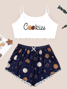 Cookies And Letter Graphic Lettuce Trim Cami Pajama Set