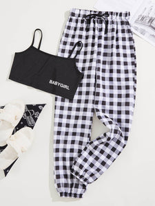 Letter Graphic Cami Top & Gingham Pants Pajama Set