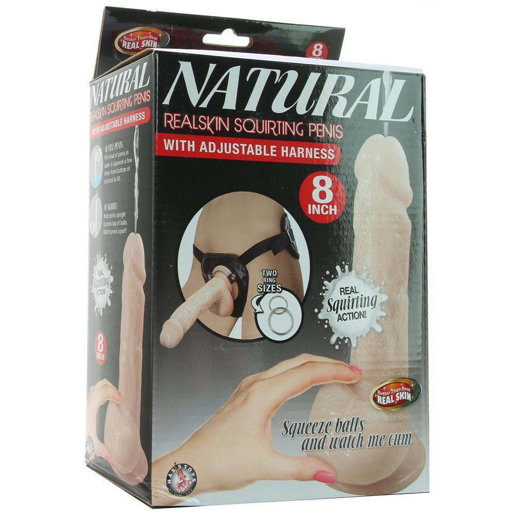 "Natural Realskin 8"" Squirting Cock & Harness in Vanilla"