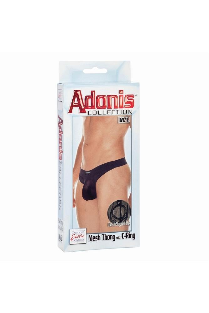 Adonis Collection Mesh Thong with C-Ring in L/XL