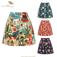 Load image into Gallery viewer, SISHION 2020 Summer Women's Vintage Mini skirt SS0008 New Floral Print Flower High Waist Slim Skirts Sexy Girl retro Female
