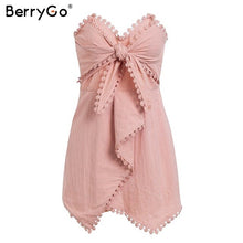 Load image into Gallery viewer, BerryGo Sexy strapless cross tie women playsuit Embroidery pink cotton linen jumpsuit Summer party fashion female overall romper