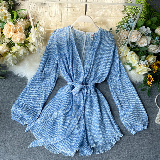 Summer Chiffon Playsuit New 2020 Fashion Women Sexy V-neck With Belt Floral Print Shorts Romper Ladies Beach Pleated Jumpsuit