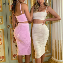 Load image into Gallery viewer, Articat Sexy Bodycon Two Pieces Set Dress Women Spaghetti Strap Crop Tops Ruched Sheath Midi Skirt Suit 2020 Streetwear Clothes