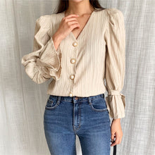 Load image into Gallery viewer, HziriP Casual High Waist Pleated Pearls 2020 Sweet Solid V-Neck Puff Sleeves Tops Brief Shirts Woman Fashion All Match Blouses