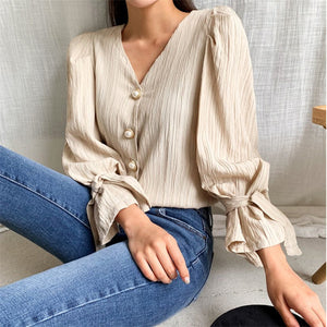 HziriP Casual High Waist Pleated Pearls 2020 Sweet Solid V-Neck Puff Sleeves Tops Brief Shirts Woman Fashion All Match Blouses