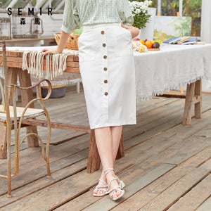 Semir 2020 summer new spring basic long skirt skirt female summer retro art skirt skirt