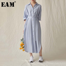 Load image into Gallery viewer, [EAM] Women Blue Brief Bandage Big Size Long Shirt Dress New Lapel Three-quarter Sleeve Loose Fashion Spring Summer 2020 1U899