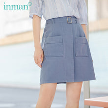 Load image into Gallery viewer, INMAN 2020 Summer New Arrival Cotton High Waist Pure Cotton Safari Style Pure And Fresh A-line Skirt