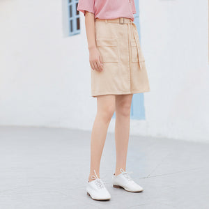 INMAN 2020 Summer New Arrival Cotton High Waist Pure Cotton Safari Style Pure And Fresh A-line Skirt